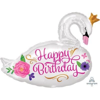 Balão Happy birthday Cisne 73cm
