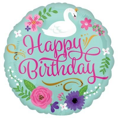 Balão foil Happy Birthday cisne