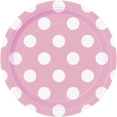 8 Pratos rosa bolas 17cm