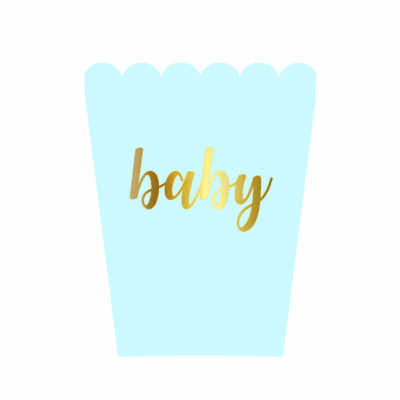 6 Caixas pipocas baby pastel Azul