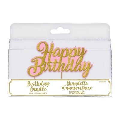 vela happy birthday rosa ouro glitter
