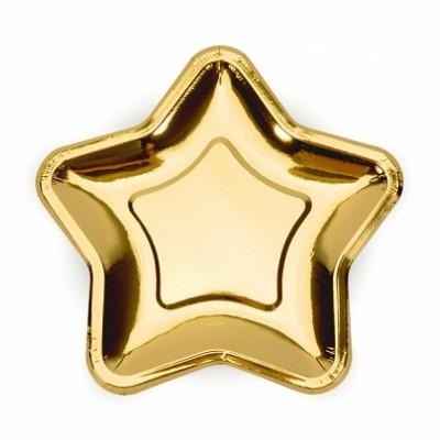 6 Pratos estrela ouro 18cm