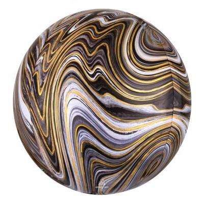 Balão orbz marmoreado preto/ouro