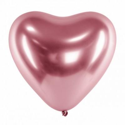 Balão coração chrome rosa