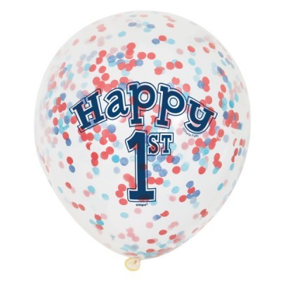 6 balões confetti 1º aniversário