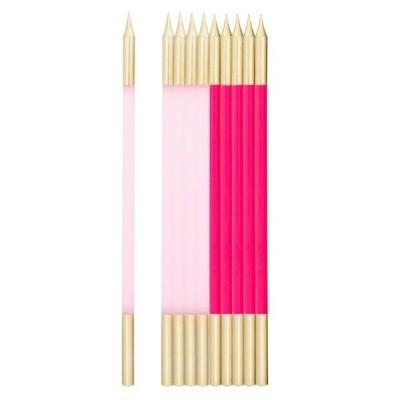 Vela alta rosa/ouro