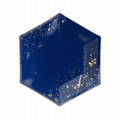 6 Pratos - azul e dourado