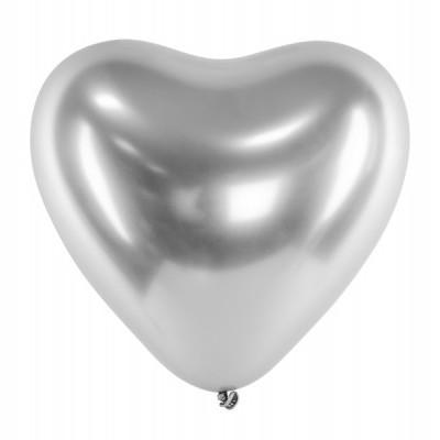 Balão coração chrome prata