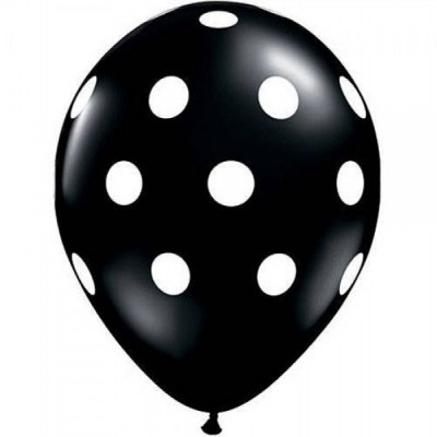 Balão latex preto bolas brancas