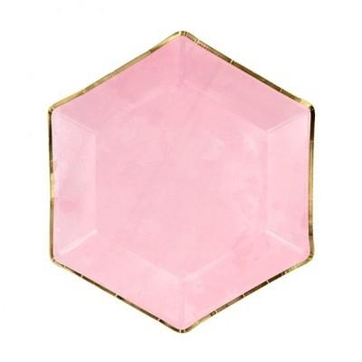 6 Pratos marmoreado rosa e ouro