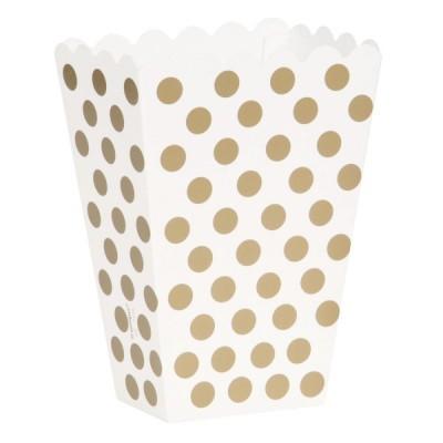 Caixas de pipocas ouro bolas
