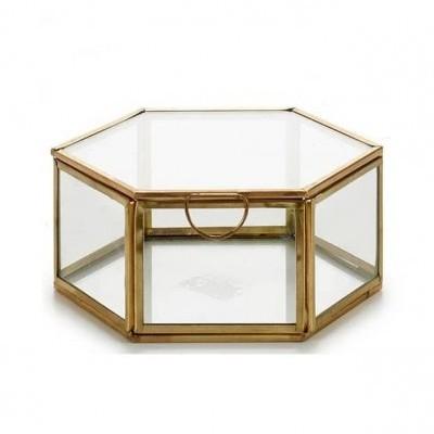 Caixa Hexagonal metálica ouro S
