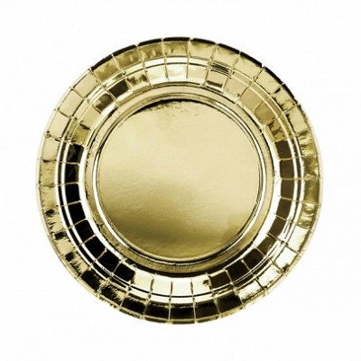 6 Pratos redondos ouro - 18cm