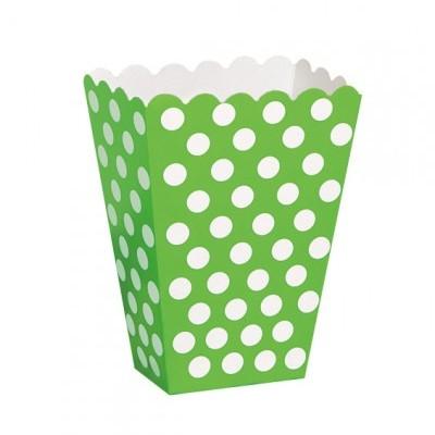 Caixas de pipocas verde bolas