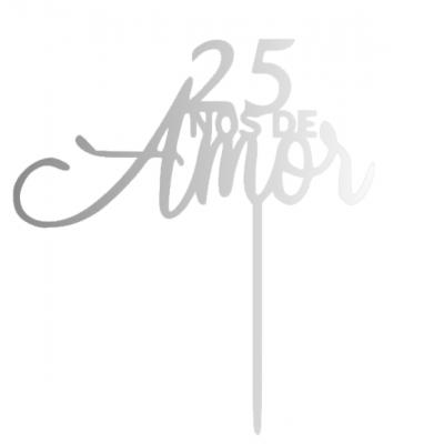 Topo de bolo 25 anos de amor