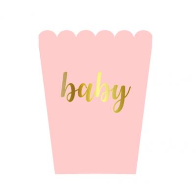 6 Caixas pipocas baby pastel Rosa