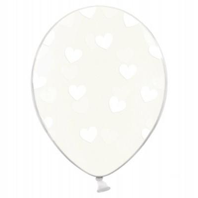 Balão latex transparente corações brancos