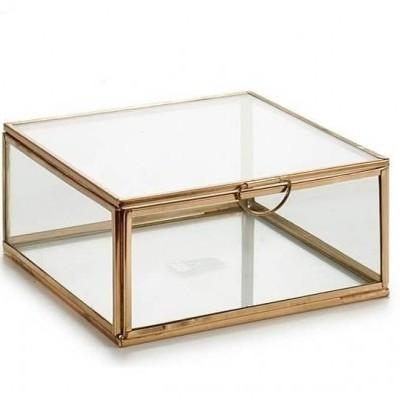 Caixa Quadrada metálica ouro L