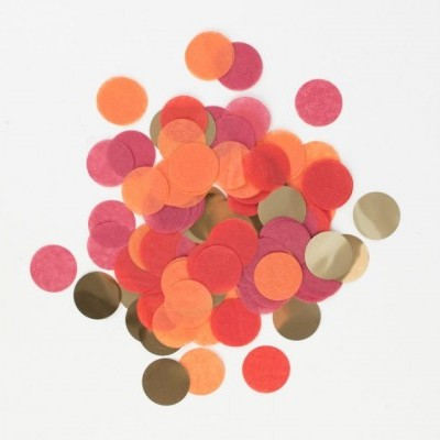 Confetti vermelho/laranja/ouro