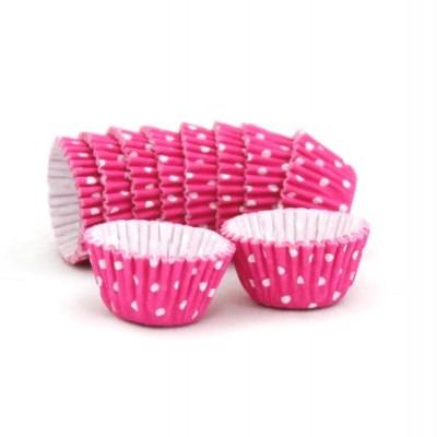 Formas cupcake rosa com bolinhas x100