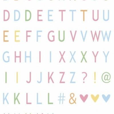 Conjunto de letras e símbolos tons pastel
