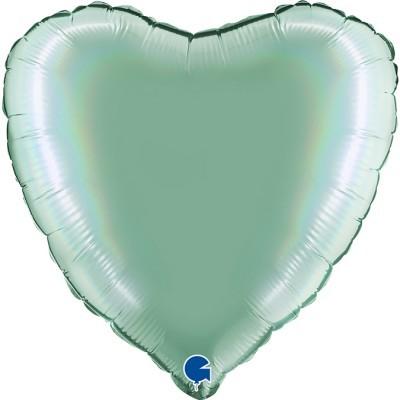 Balão coração acetinado Verde