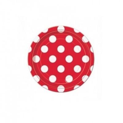 8 Pratos vermelho bolas 18cm