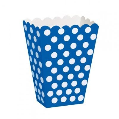 Caixas de pipocas azul cobalto bolas