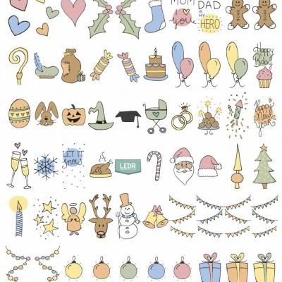 Conjunto de símbolos coloridos