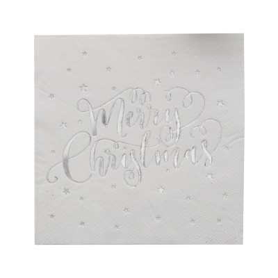 20 Guardanapos Merry Chistmas Prata
