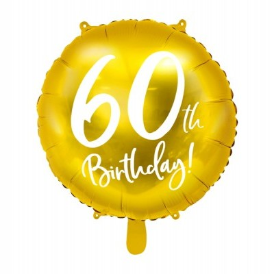 Balão foil 60th birthday ouro