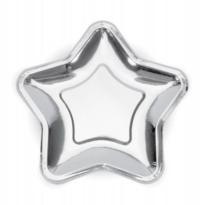 6 Pratos estrela prata