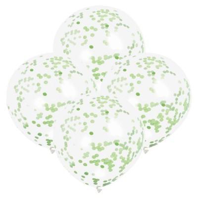 6 Balões confetti verde