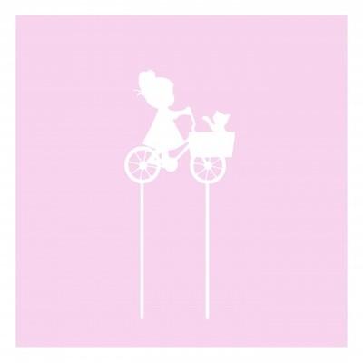 Topo de bolo menina bicicleta gato