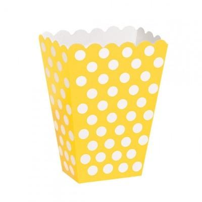 Caixas de pipocas amarelo bolas