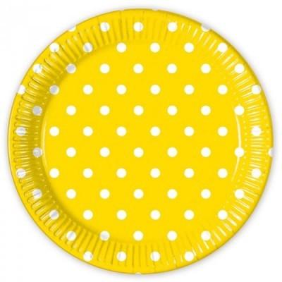 8 Pratos amarelo bolas 23cm