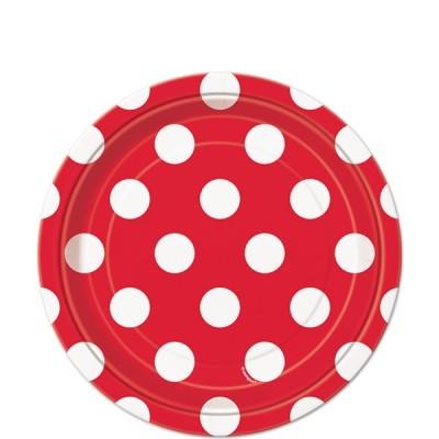 8 Pratos vermelho bolas