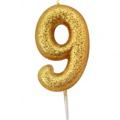 Vela nº 9 glitter ouro 7cm