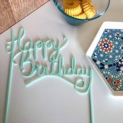Topo de bolo Happy Birthday