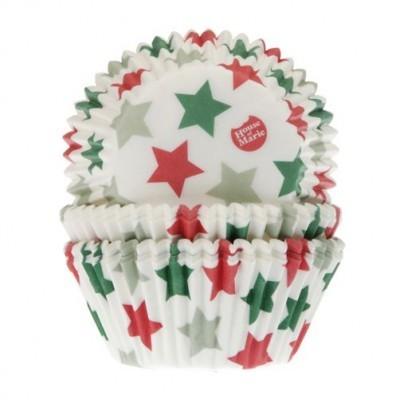 50 x Formas frisada cupcake Estrelas natal