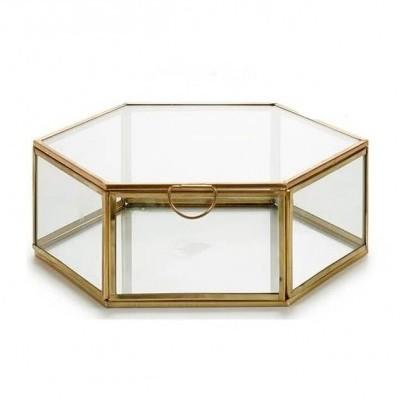 Caixa Hexagonal metálica ouro L