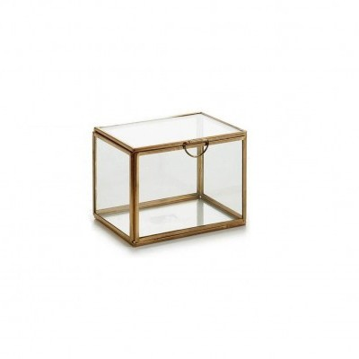 Caixa rectangularl metálica ouro s