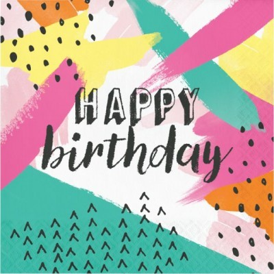 16 Guardanapos Happy Birthday