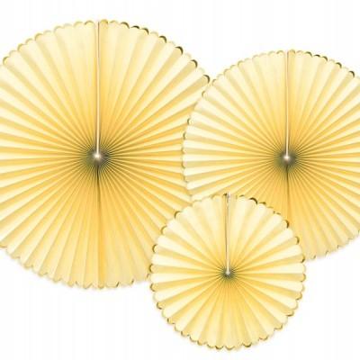 Rosetas amarelo pastel e ouro