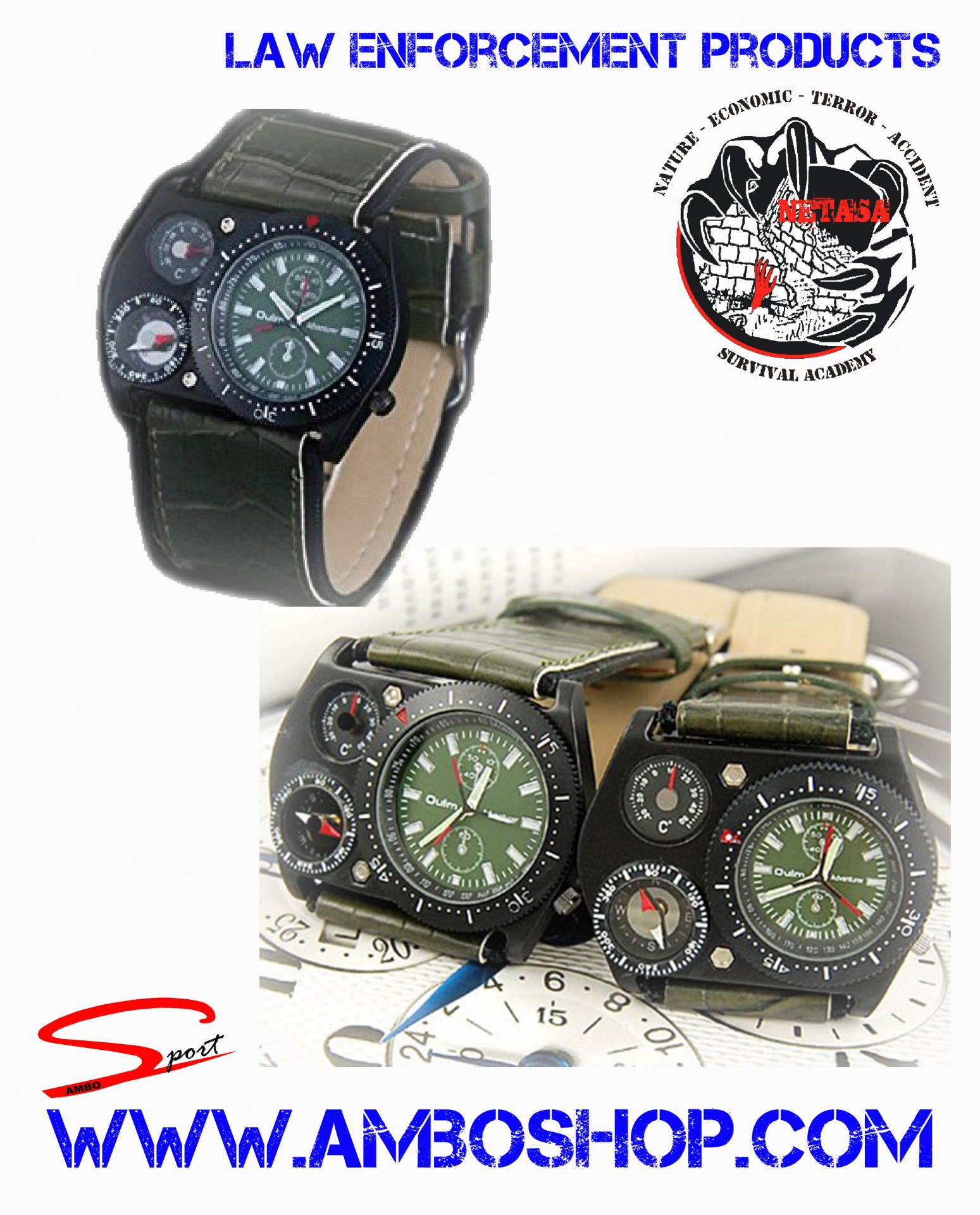 Relógio com bússola e termometro