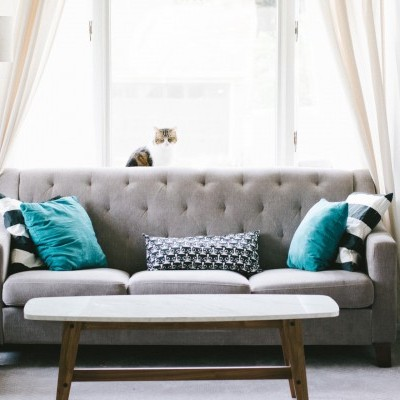 Blue Fabric LoveSeat