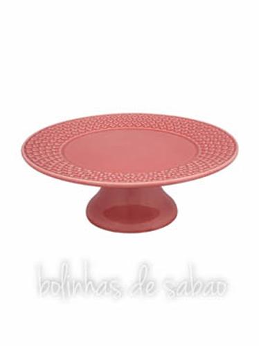 Prato de Pé Corações 31 cm - Rosa
