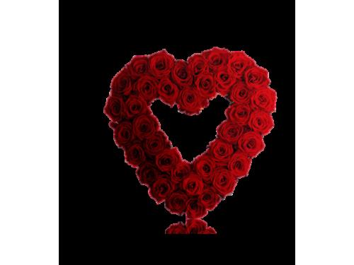 Grinalda Coração Flores Vermelho