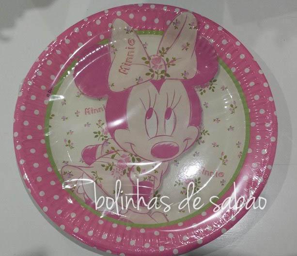Pratos Minnie 23cm - 10 unidades