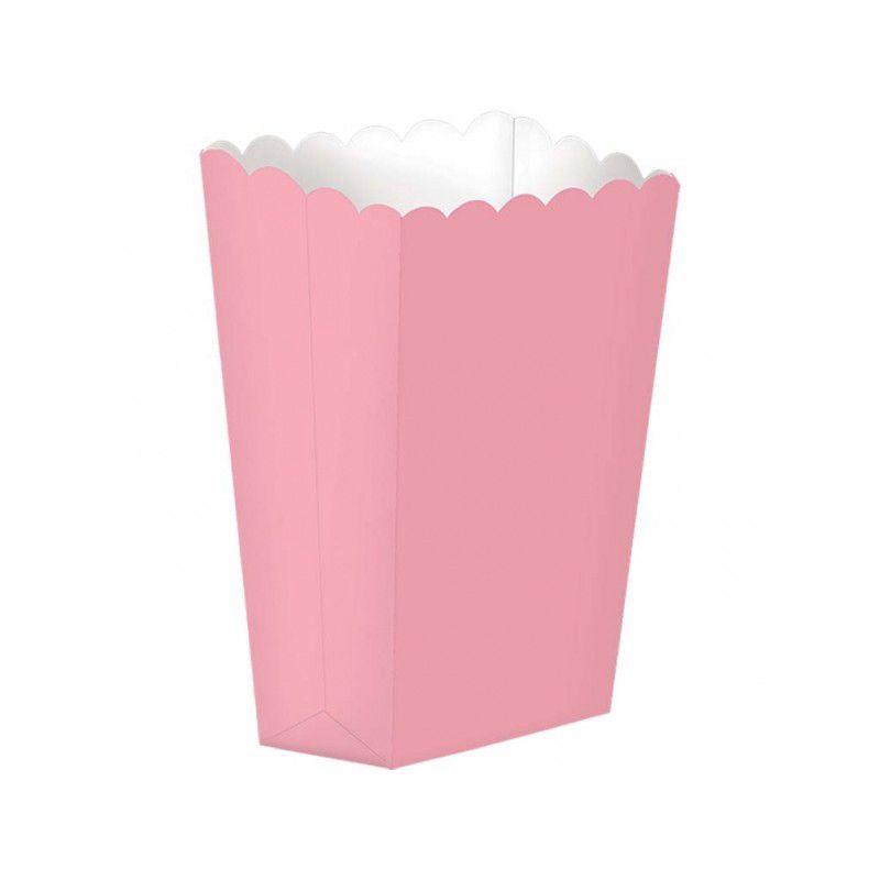 Caixas de Pipocas Lisas Rosa  -5 unidades